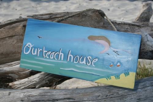 """OUR BEACH HOUSE"" NAUTICAL SIGN 14"" - BEACH DECOR"