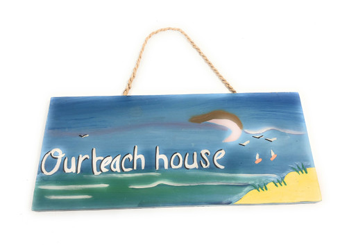 "Our Beach House Decorative Sign 14"" - Beach Decor 