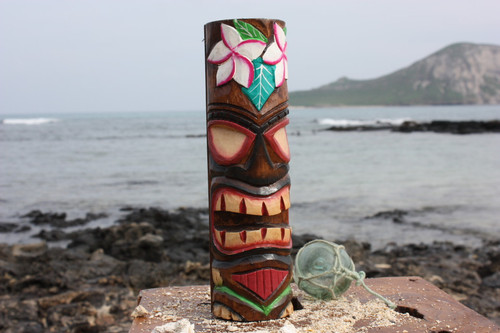 "Tiki Totem 10"" w/ Flowers - Hand Carved & Painted"