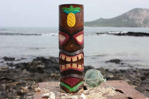 "Tiki Totem 10"" w/ Pineapple - Hand Carved & Painted"