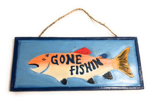 "Gone Fishin' Sign 14"" - Decorative Fishing Decor 