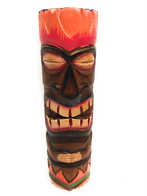 "Tiki Totem 10"" w/ Lava Hawaii - Hand Carved & Painted 