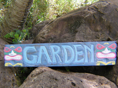 "RUSTIC HAWAII ""GARDEN"" TIKI BAR SIGN - 39"" - ISLAND DECOR"