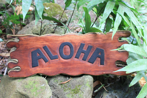 "Aloha Sign Driftwood 20"" - Tiki Bar Decor 