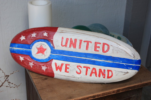 "Americana Surf Sign ""United We Stand"" - Hand Carved 20"""