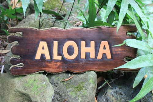 """ALOHA"" SIGN DRIFT WOOD 20"" - TIKI BAR DECOR"