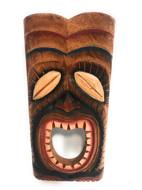 "Laughing Tiki Mask 12"" - Wall Plaque Hand Carved 