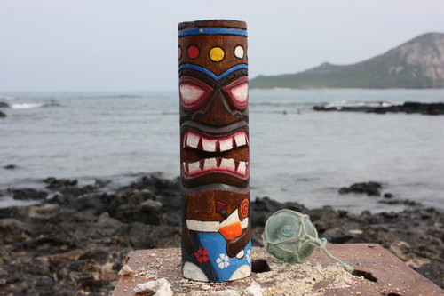 "Tiki Totem 10"" w/ Mai Tai Cocktail- Hand Carved & Painted"
