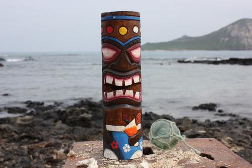 """Tiki Totem 10"""" w/ Mai Tai Cocktail- Hand Carved & Painted"""