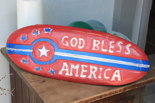 "Americana Surf Sign ""God Bless America"" - Hand Carved 20"""