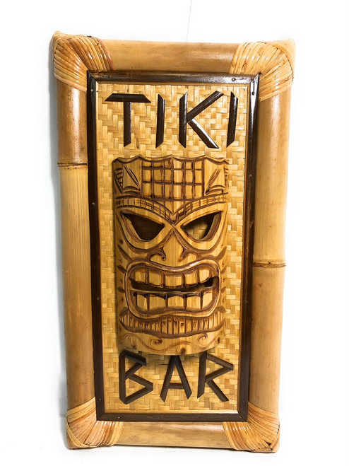 Tiki Bar Bamboo Sign w/ Tiki Mask - Tropical Decor | #bag1500455