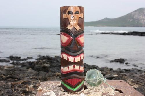 "Tiki Totem 10"" w/ Cross Bone - Hand Carved & Painted"