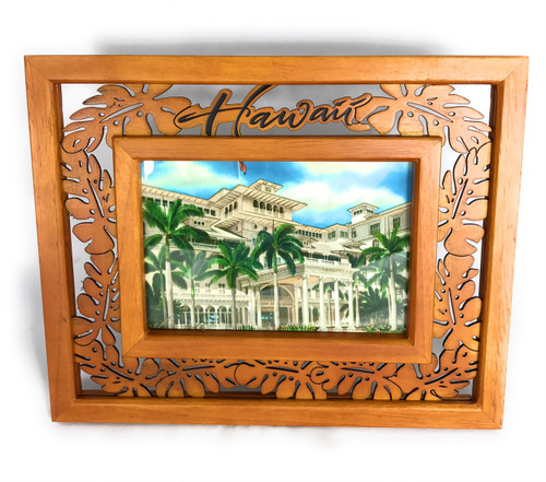 "Elegant Photo Frame w/ Laser Cut Monstera Design 4""X6"" 