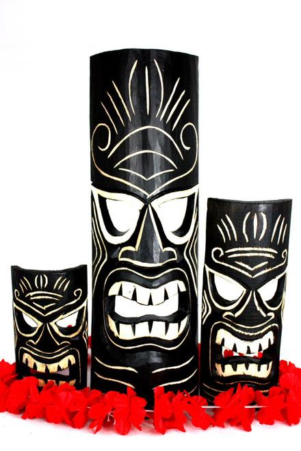 "Set of 3 Tiki Masks Love, Happy, Money 20"", 12"", 8"" | #dpt5131trio"