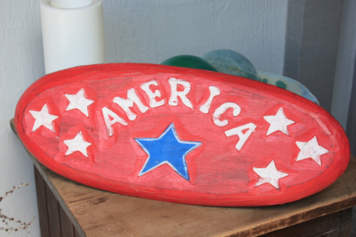 "Americana Surf Sign ""America"" - Hand Carved 20"""