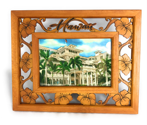 "Elegant Photo Frame w/ Laser Cut Hibiscus Design 4""X6"" 