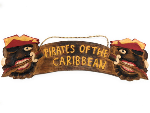 """Pirates Of The Caribbean Sign 24"""" - Pirate Decor - Hand Carved 
