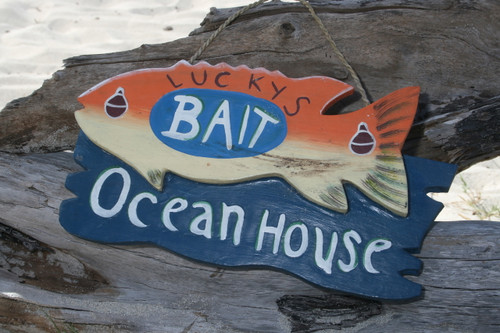"""LUCKY'S BAIT, OCEAN HOUSE"" LAKE SIGN 16"" - LAKE HOUSE DECOR"