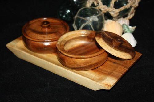 Tray w/ Condiment 2-Piece Set - Tropical Accent