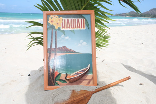 "VINTAGE SIGN ""HAWAII"" HAWAIIAN CANOE - 24"" X 16"" HAWAIIAN SURF DECOR"