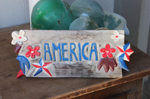 "Americana Sign ""America"" - Hand Carved 12"" 2"