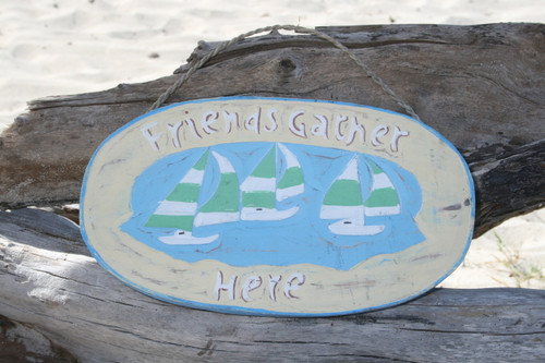 """FRIENDS GATHER HERE"" LAKE SIGN 16"" - LAKE HOUSE DECOR"