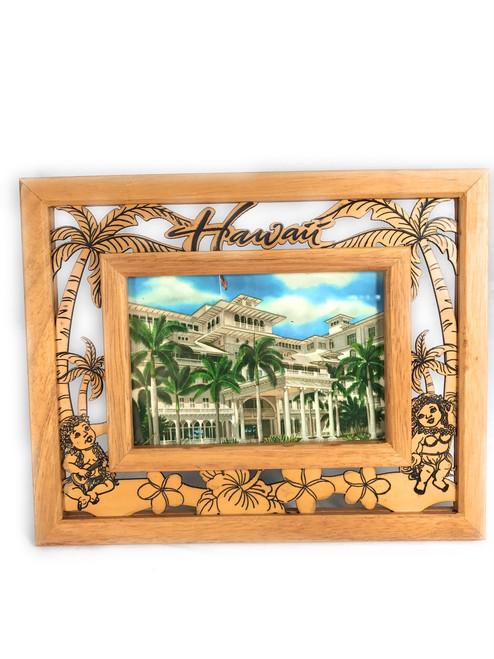 "Elegant Photo Frame w/ Laser Cut Menehune Design 4""X6""   #R5137"