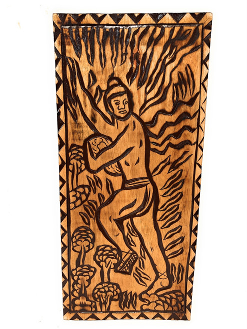 "Climb To Safety Wood Panel 30"" X 12"" King Kamehameha - Polynesian Wall Art 