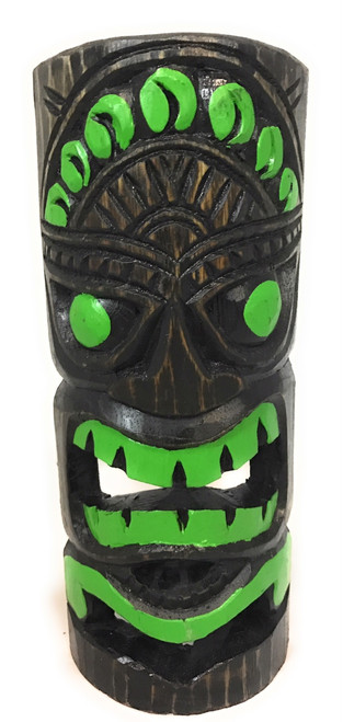 """Jungle Green Tiki Mask 12"""" - Carved/Painted 