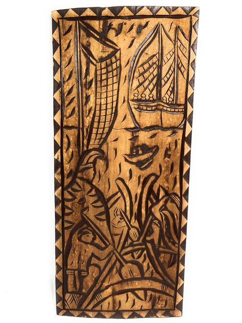 "King Of The Island Chains Wood Panel 30"" X 12"" King Kamehameha - Polynesian Wall Art | #dpt5043"
