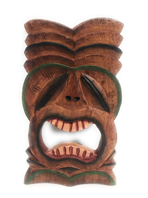 "Big Kahuna Tiki Mask 8"" Wall Plaque - Hand Carved 