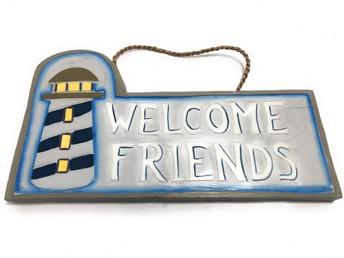 "Welcome Friends Sign 14"" w/ Lighthouse - Nautical Decor 