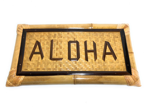 "Aloha Bamboo Sign 22"" X 12"" - Tropical Decor 