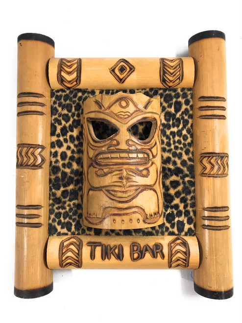 "Bamboo Tiki Bar Sign 12"" w/ Leopard Print - Pop Culture 