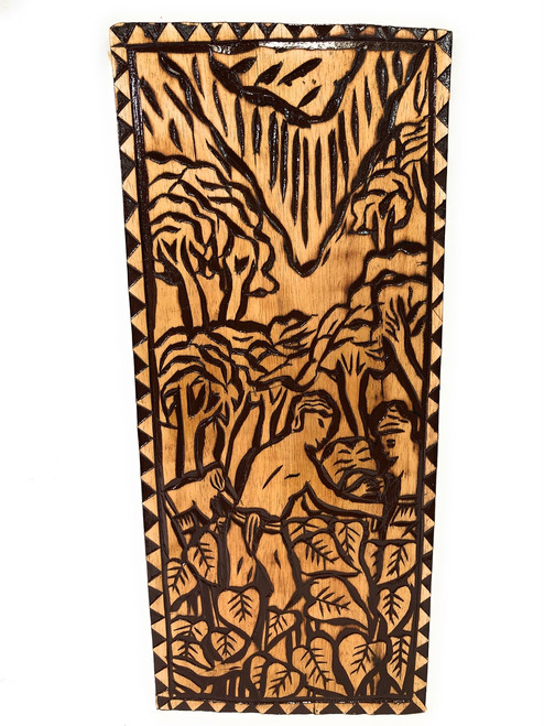 "The Final Days: Taro Field Wood Panel 30"" X 12"" King Kamehameha - Polynesian Wall Art | #dpt5045"