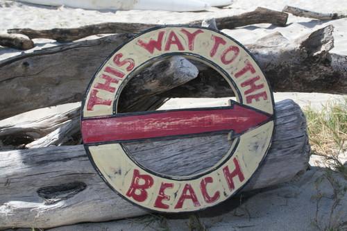 """THIS WAY TO THE BEACH"" NAUTICAL SIGN 16"" - BEACH DECOR"
