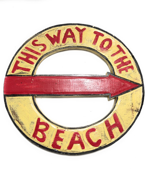 """This Way To The Beach Sign 16"""" - Cottage Coastal Decor 