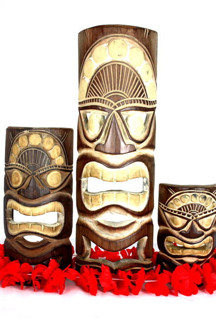 "Set of 3 Tiki Masks Love, Happy, Money 20"", 12"", 8"" | #dpt5133trio"