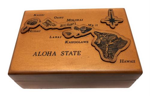 Wooden Jewelry Keepsake Box w/ Aloha State Design   #R5271
