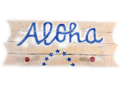 "Americana Sign/Hanger ""Aloha"" on Planks 16"" - 2 Pegs 