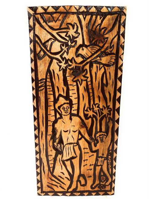 "Return Of The King Wood Panel 30"" X 12"" King Kamehameha - Polynesian Wall Art 