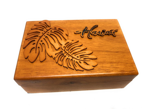Wooden Jewelry Keepsake Box w/ Monstera Design | #R5272