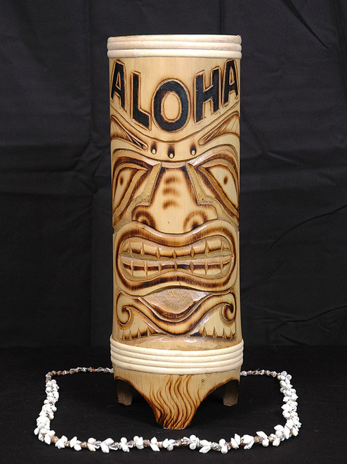 "TIGER BAMBOO ""ALOHA"" VASE 12"" - TROPICAL DECOR"