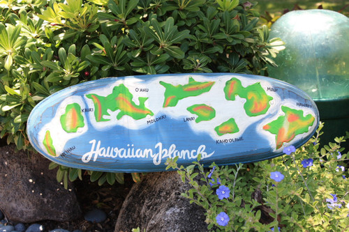 "Hawaiian Islands Chain 24"" - Hand Painted & Carved"