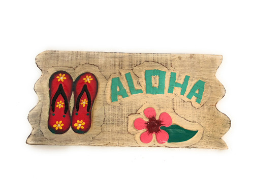 "Aloha Sign 12"" w/ Slippers Whitewash Driftwood | #dpt534830"