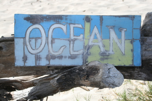 """OCEAN"" WEATHERED NAUTICAL SIGN 14"" - BEACH COTTAGE DECOR"