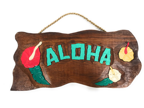 """Aloha"" w/ Hibiscus Flowers - Hand Carved 12"""