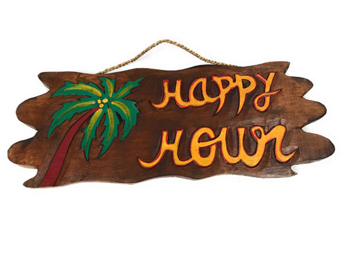 """Tiki Bar """"Happy Hour"""" Driftwood Sign 20"""" - Tropical Accents 
