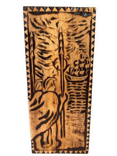 "Sailing Away Wood Panel 30"" X 12"" King Kamehameha - Polynesian Wall Art   #dpt5052"