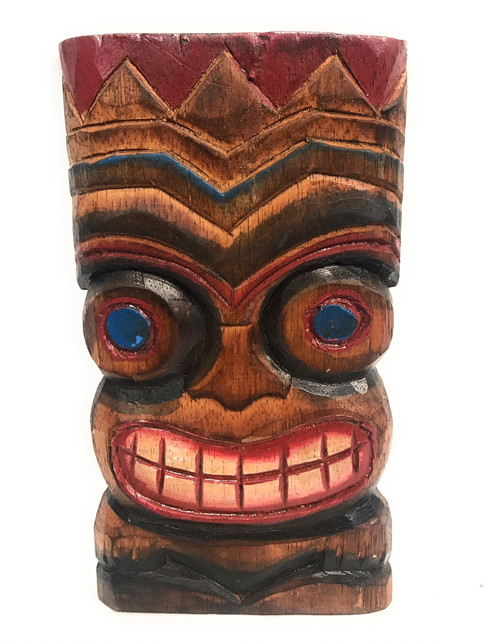 "Happiness Tiki Mask 8"" - Wall Plaque Hand Carved 